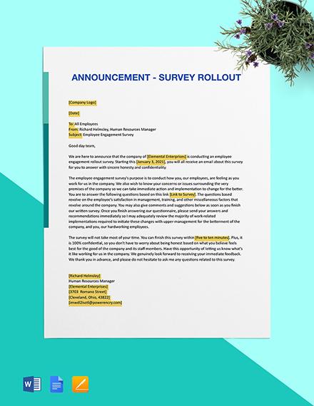 Announcement - Survey Rollout Template