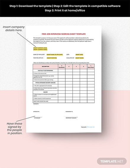 Free Job Interview Scoring Sheet Format