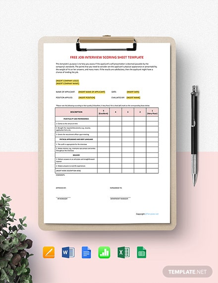 Free Job Interview Scoring Sheet Template