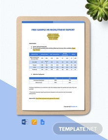Free Sample HR Recruitment Report Template