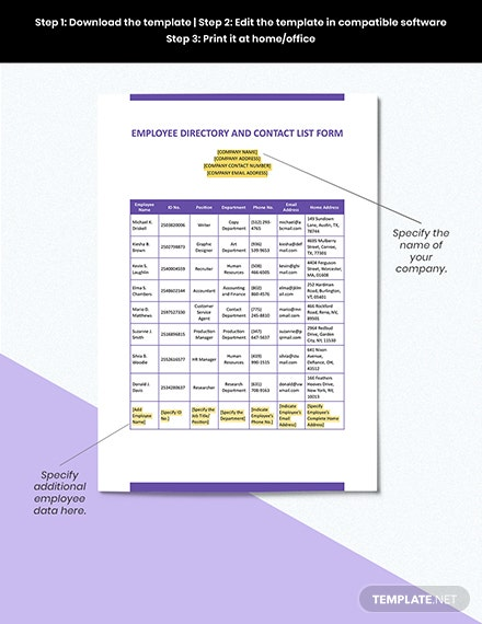 EMPLOYEE DIRECTORY AND CONTACT LIST FORM Format
