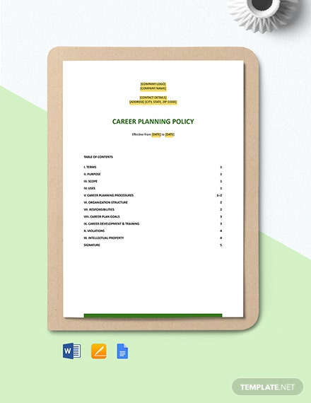 Free Career Planning Policy Template