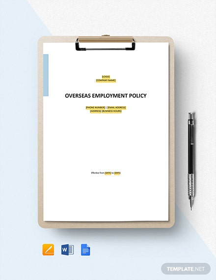 Free Overseas Employment Policy Template