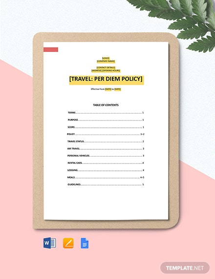 Travel: Per Diem Policy Template