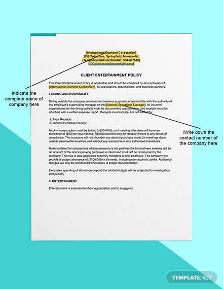 Client Entertainment Policy Editable