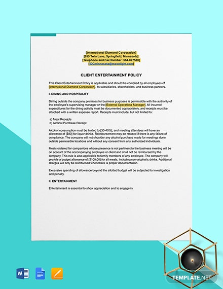 Client Entertainment Policy Format