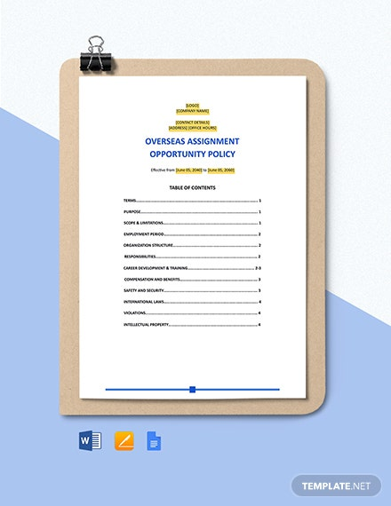 Overseas Assignment Opportunity Policy Template