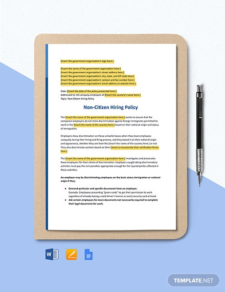 Non Citizen Hiring Policy Template