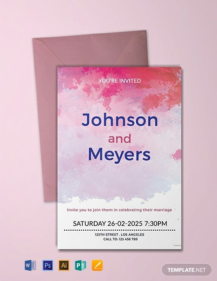 Free Watercolour Wedding Invitation Template