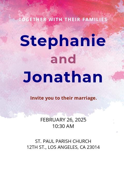 Watercolour Wedding Invitation Template