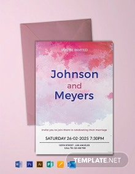 Free Watercolour Wedding Invitation Template
