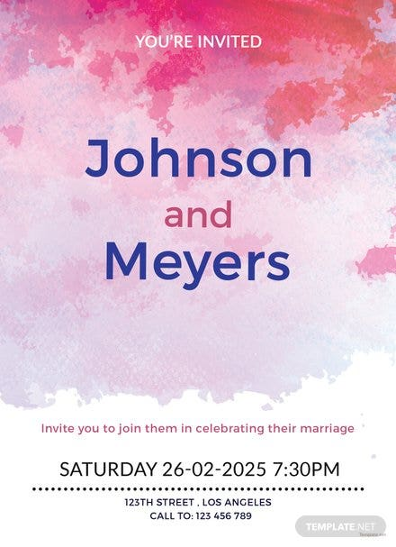 Watercolour Wedding Invitation Template
