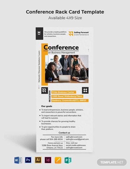 Conference Rack Card Template  - Illustrator, InDesign, Word, Apple Pages, PSD, Publisher