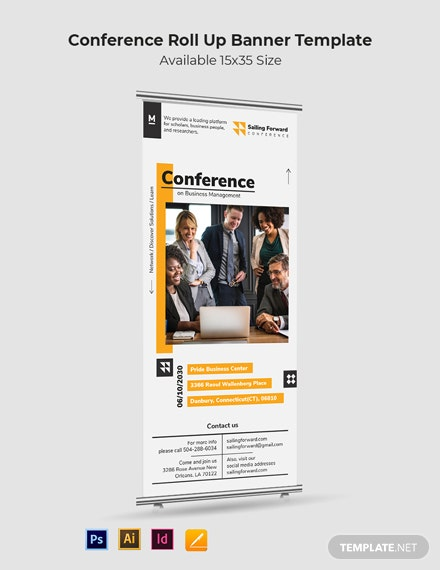 Conference Roll Up Banner Template [Free PSD] - Illustrator, InDesign, Apple Pages