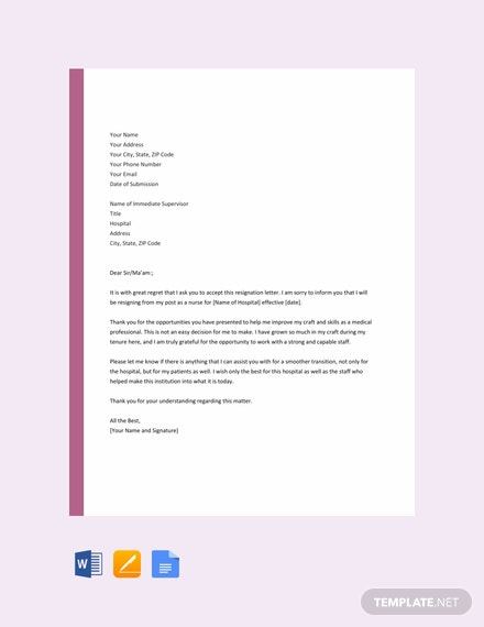 Free Nurse Resignation Letter Template