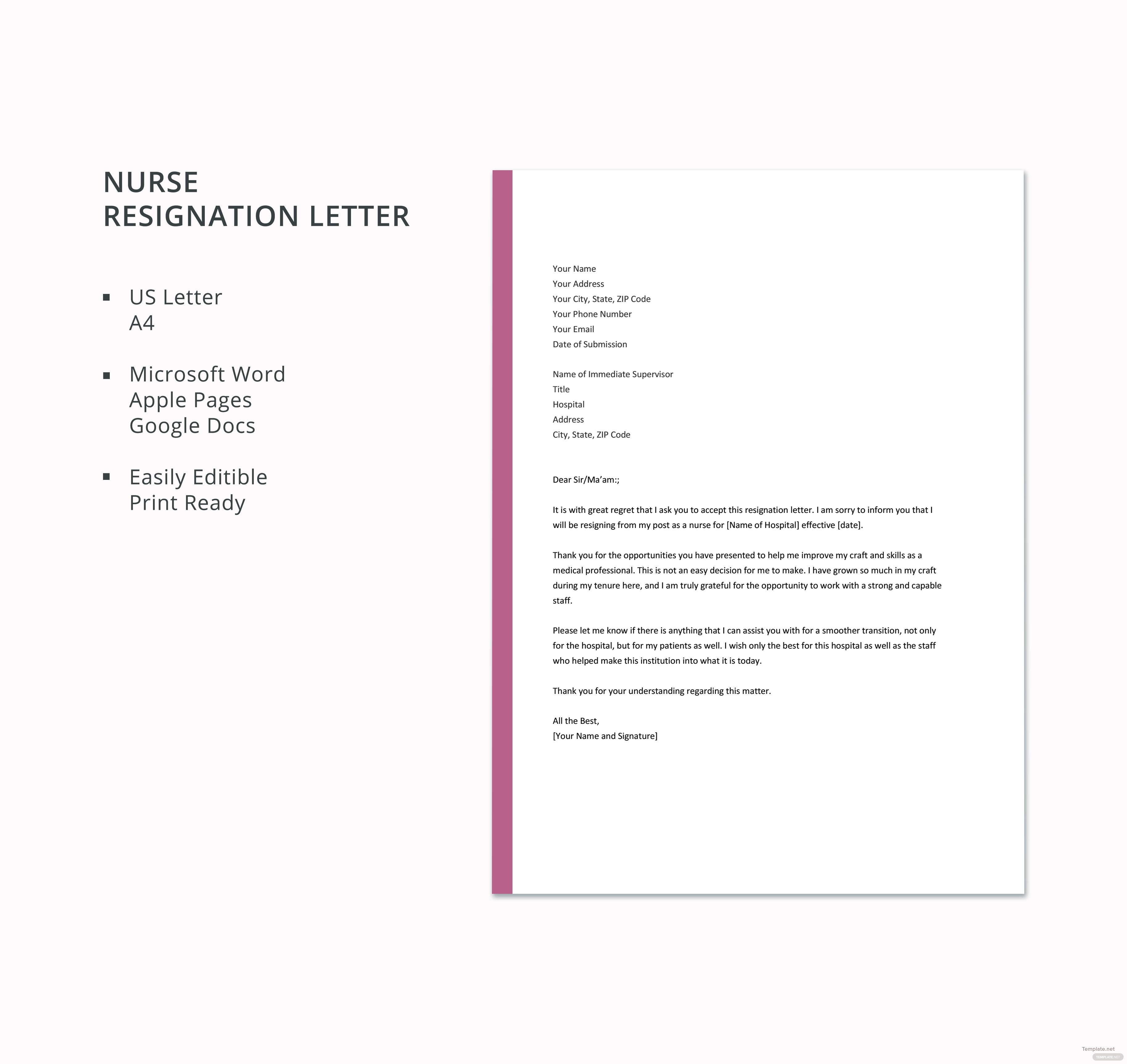 Nurse Resignation Letter Template in Microsoft Word, Apple Pages ...