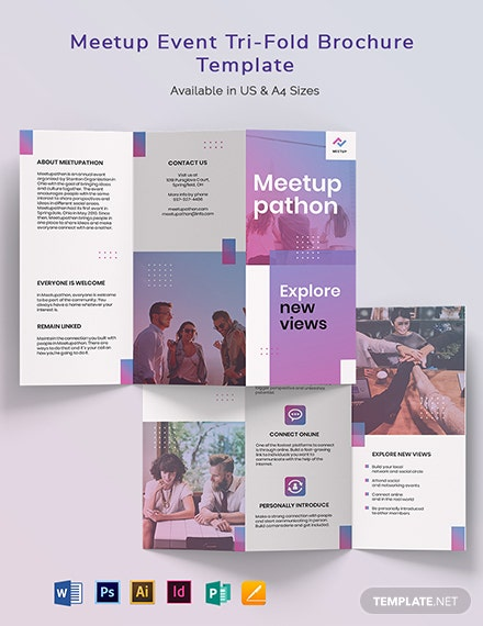 Meetup Event Tri-Fold Brochure Template