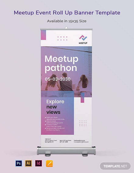 Meetup Event Roll Up Banner Template [Free PSD] - Illustrator, InDesign, Apple Pages