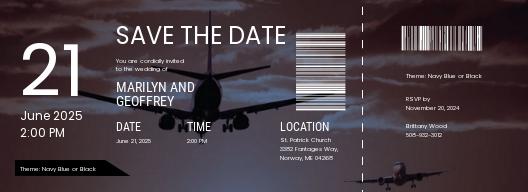 Printable Boarding Pass Wedding Invitation Template