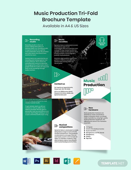 Music Production Tri-Fold Brochure Template