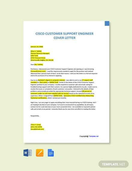 Free CISCO Customer Support Engineer Cover Letter Template
