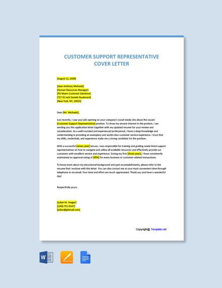 Free Customer Support Representative Cover Letter Template