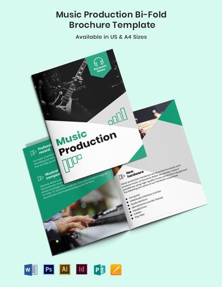 Music Production Bi-Fold Brochure Template