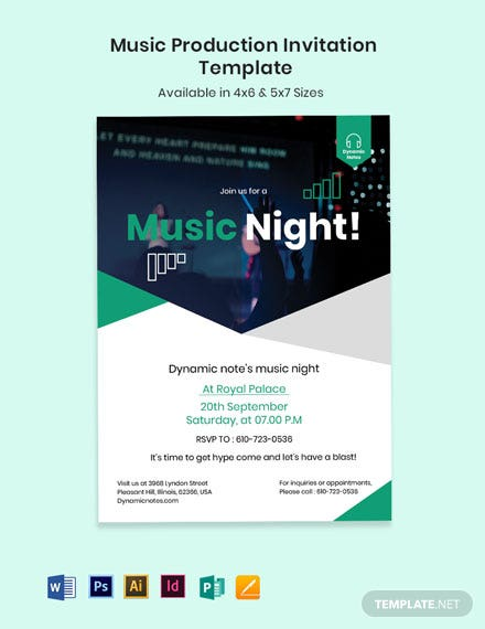 Music Production Invitation Template