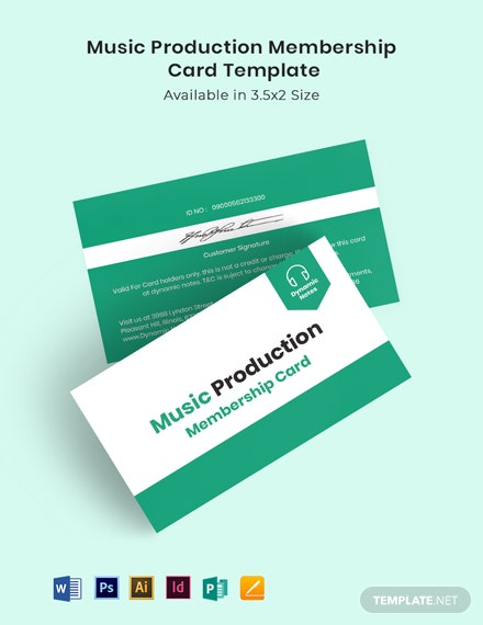 Music Production Membership Card Template