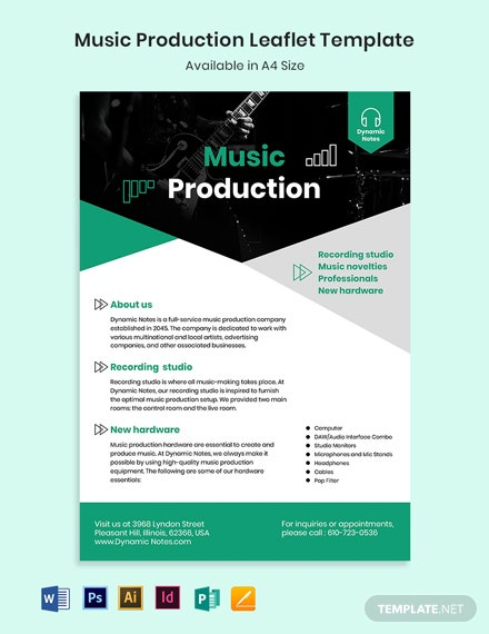 Music Production Leaflet Template