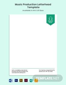 Music Production Letterhead Template