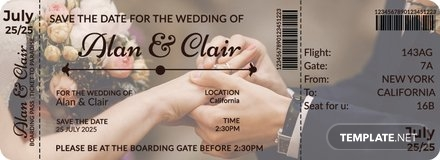 Editable Boarding Pass Wedding Invitation Template
