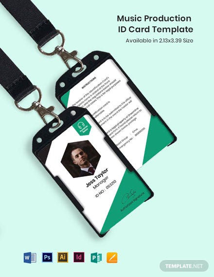 Music Production ID Card Template