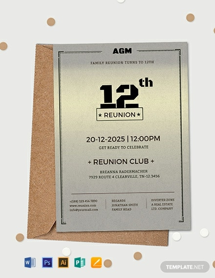 Free Elegant Family Reunion Invitation Template