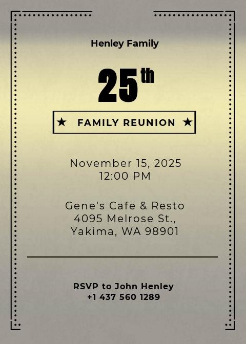 Elegant Family Reunion Invitation Template
