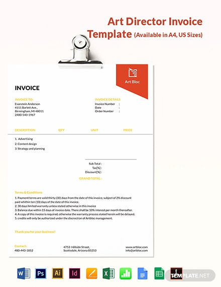 Art Director Invoice Template