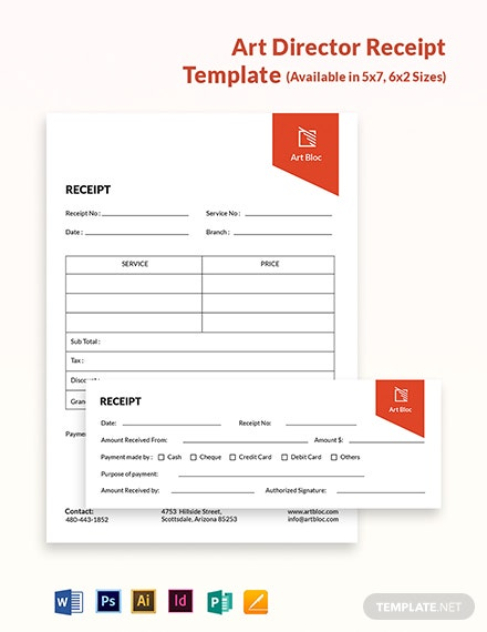 Art Director Receipt Template