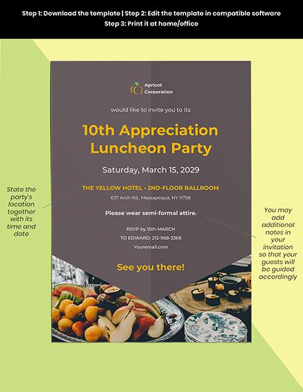 Employee Appreciation Luncheon Invitation Template Format