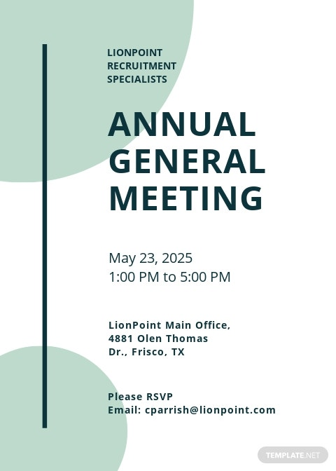 Annual General Meeting Invitation Template