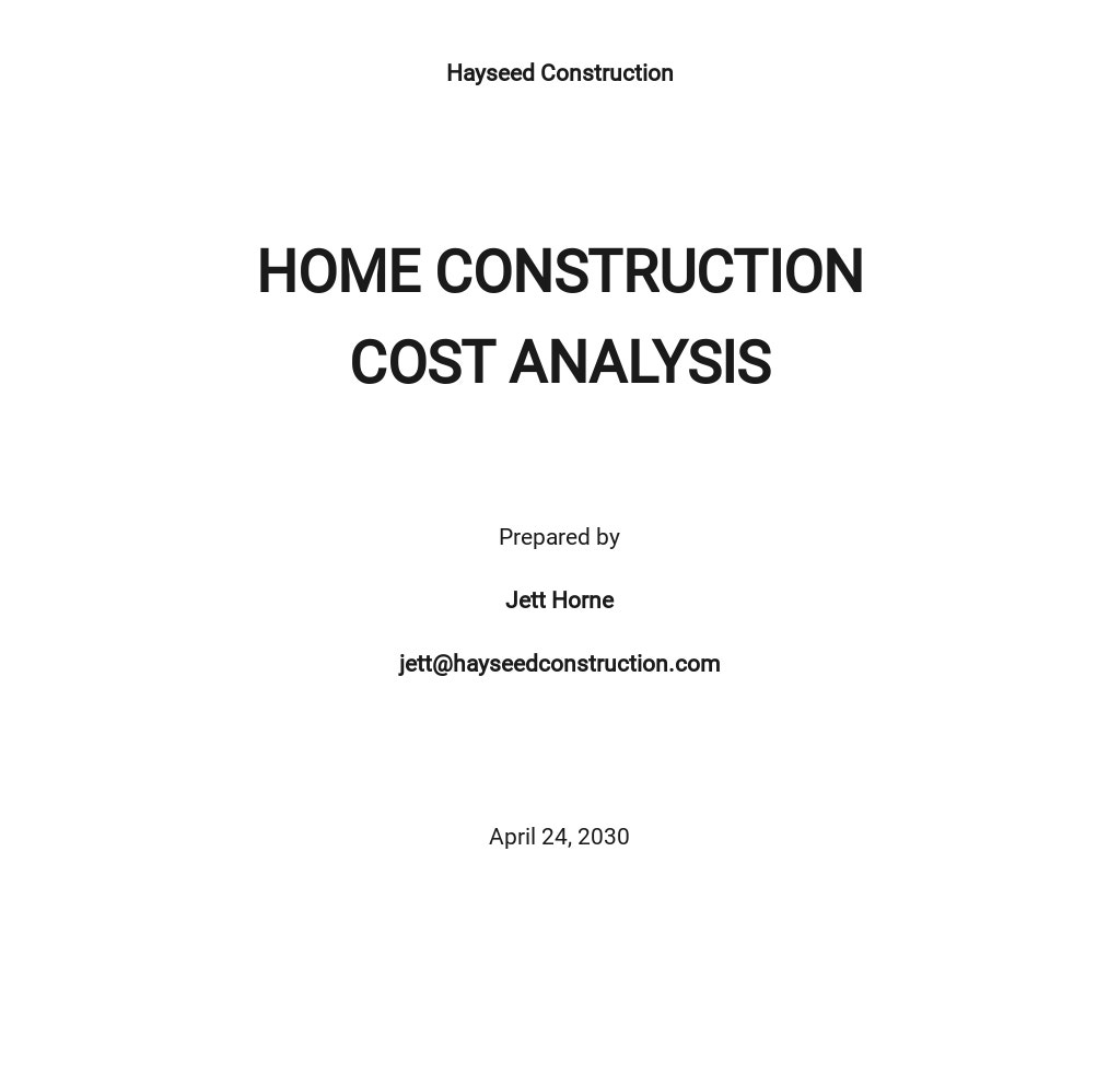 Home Construction Cost Analysis Template