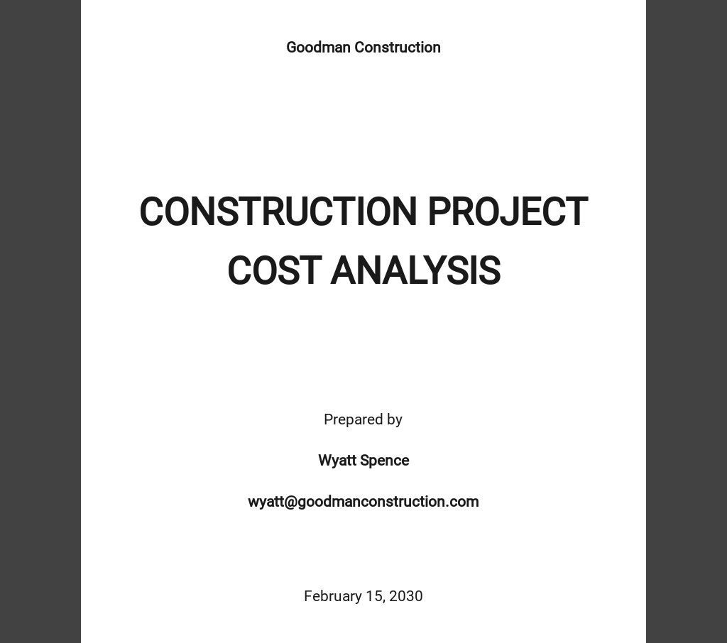 Construction Project Cost Analysis Template