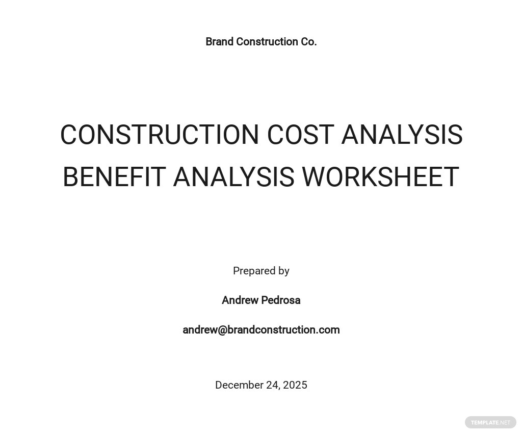 Construction Cost Analysis Worksheet Template