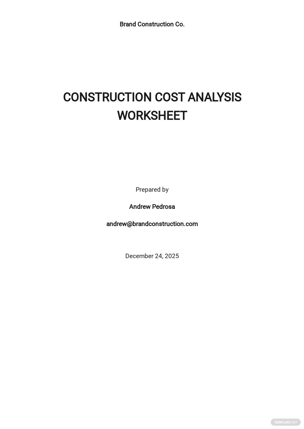 Construction Cost Analysis Worksheet Template.jpe
