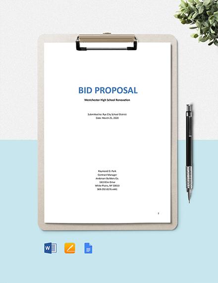 Construction Project Bid Proposal Template