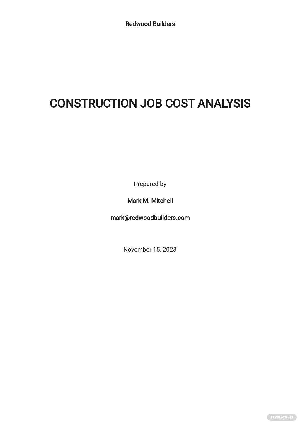 Construction Job Cost Analysis Template