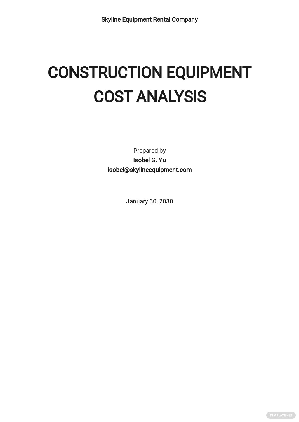 Construction Equipment Cost Analysis Template