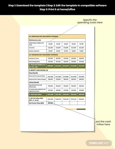 construction equipment cost analysis editable