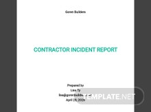 Contractor Incident Report Template