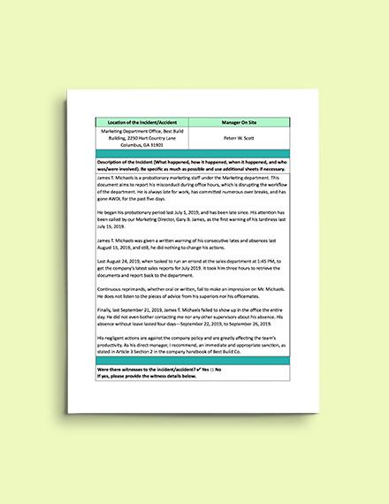 Contractor Incident Report Template Incident Report Template
