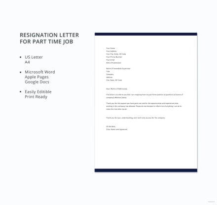 Free part time job resignation letter template download 700 free part time job resignation letter template spiritdancerdesigns Gallery